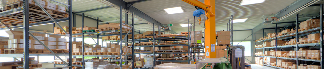 Interior view of the warehouse of Beloh Magnetsysteme GmbH & Co. KG